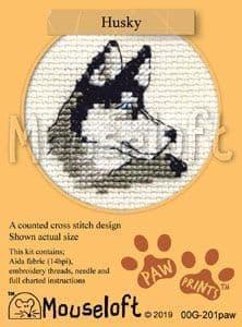 Mouseloft Husky Paw Prints cross stitch kit